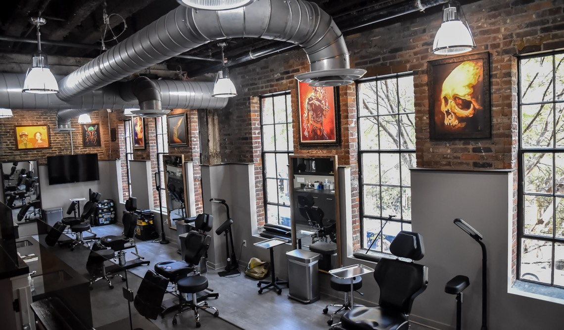 Tattoo stations at Hart & Huntington Tattoo Co. Nashville